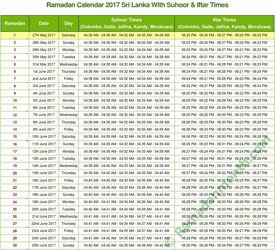 Ramadan 2018 Sri Lanka Calendar With Prayers Timetable  Sri Lanka Festival Ramadan Calendar