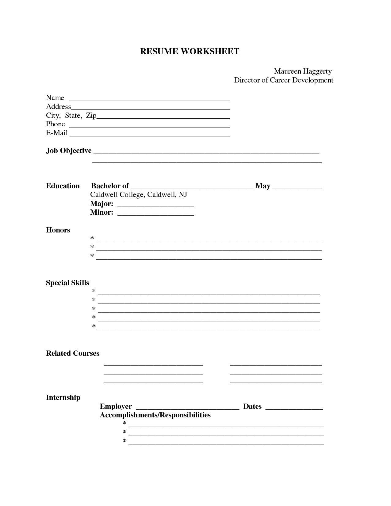 Resume Template Example Free Printable Fill In Blank Form Fill In  Fill In The Blank Template
