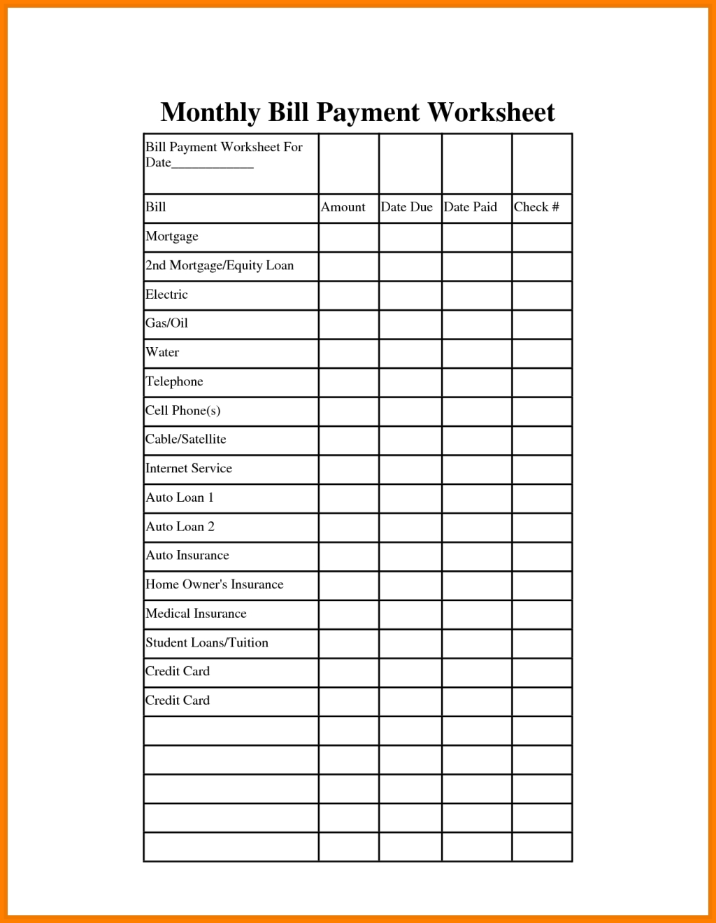 Schedule Of Payments Template - Shefftunes.tk  Custom Worksheet Monthly Bill Payment