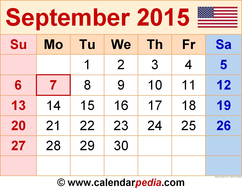 September 2015 Calendars For Word, Excel & Pdf  Calendar For Month Of September