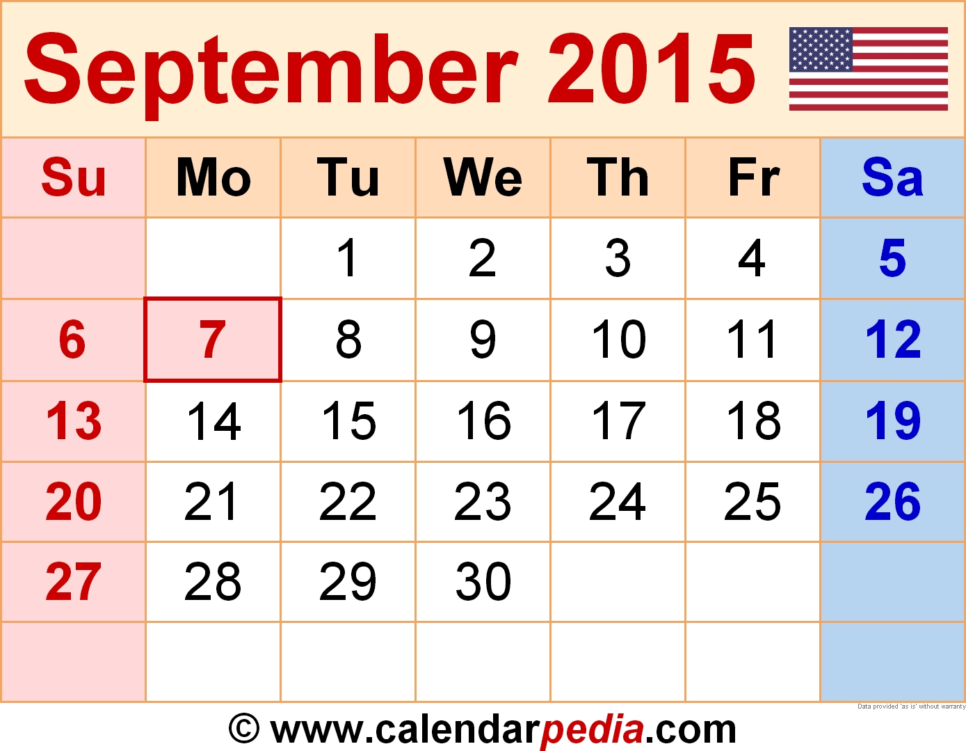 September 2015 Calendars For Word, Excel & Pdf  Calendar For The Month Of September