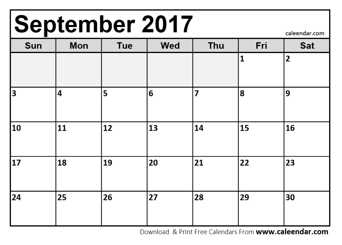 September 2017 Calendar | Printable Calendar Monthly  Print Calendar Month Of September