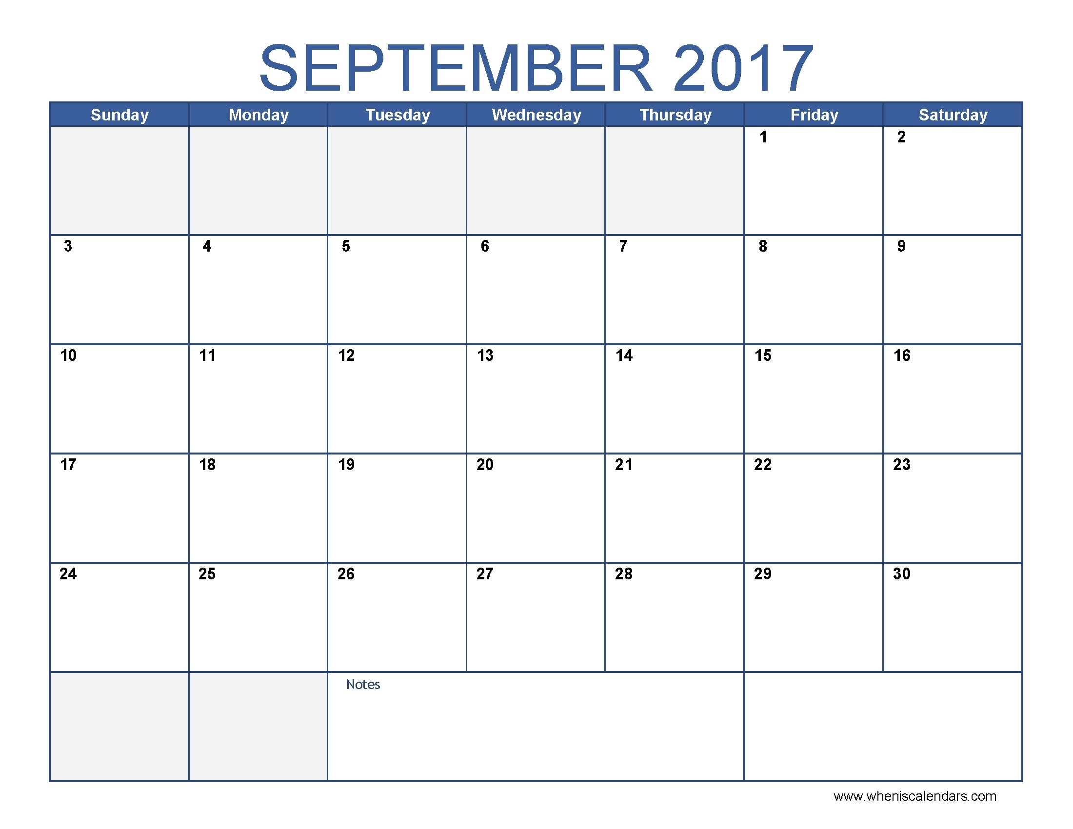 September 2017 Calendar Template | Calendar Printable Free  Calendar For The Month Of September