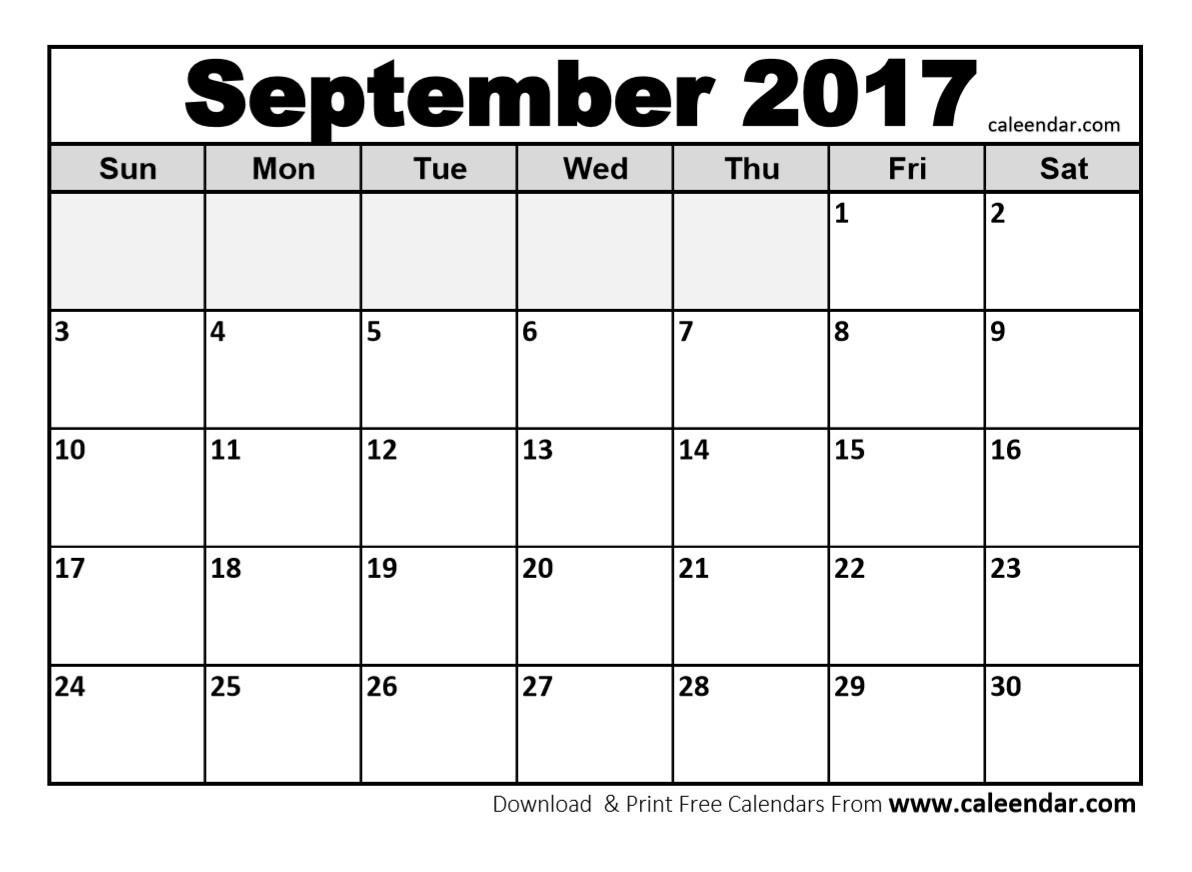 September 2017 Printable Calendar September 2017 Calendar 3 Koyeml  Print Calendar Month Of September