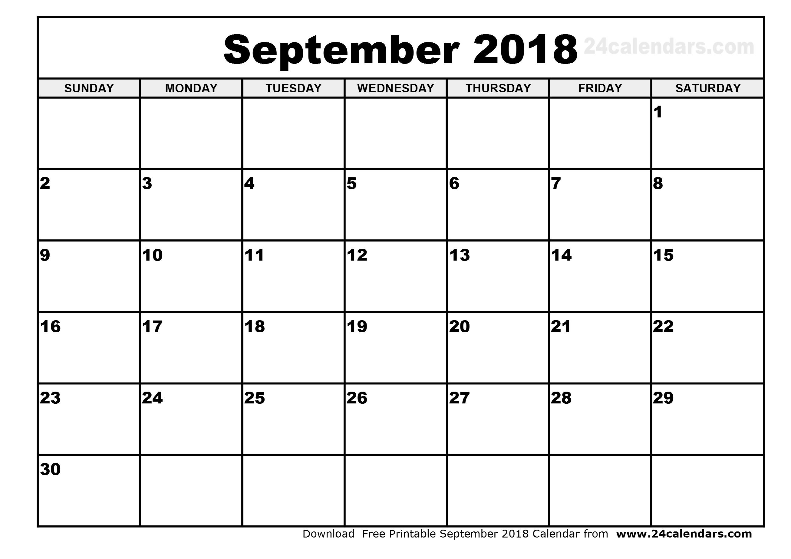 September 2018 Calendar Month | Free Template  Calendar For Month Of September