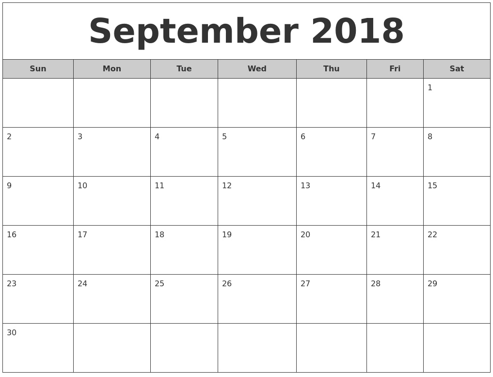 September 2018 Calendar Template  Calendar For The Month Of September