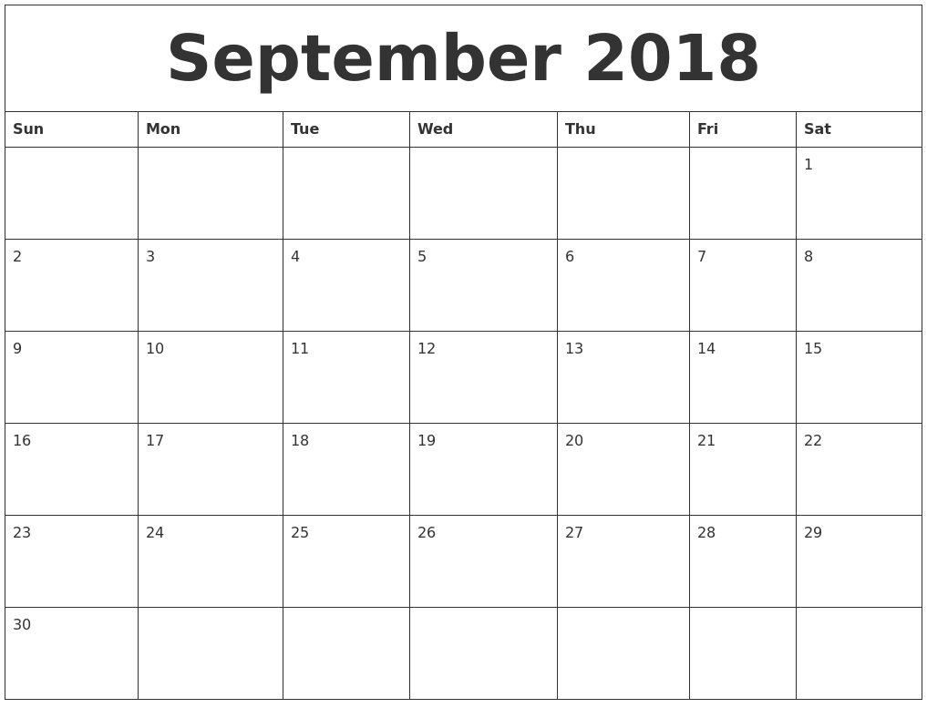 September 2018 Large Printable Calendar  Calendar For Month Of September
