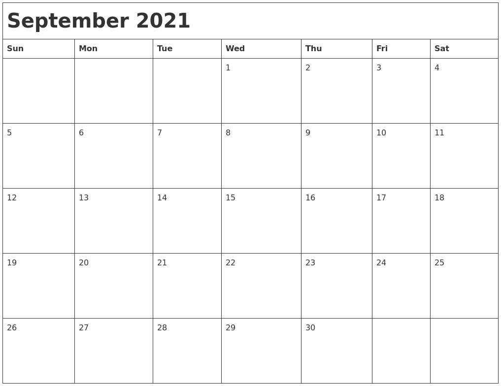 September 2021 Month Calendar  Calendar For The Month Of September