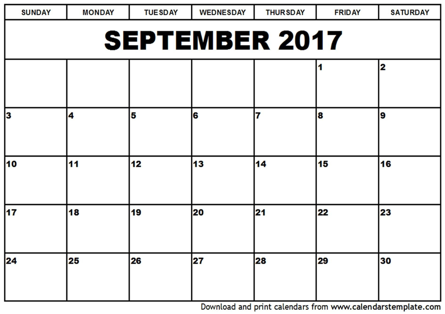 September Calendar 2017 - Printable Calendar 2018  Calendar For The Month Of September