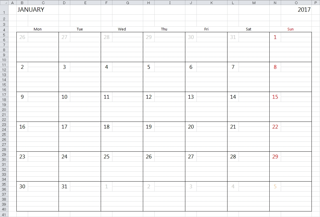 Simple 2018 Excel Calendar Template  Calendar With Large Space For Notes In Excel