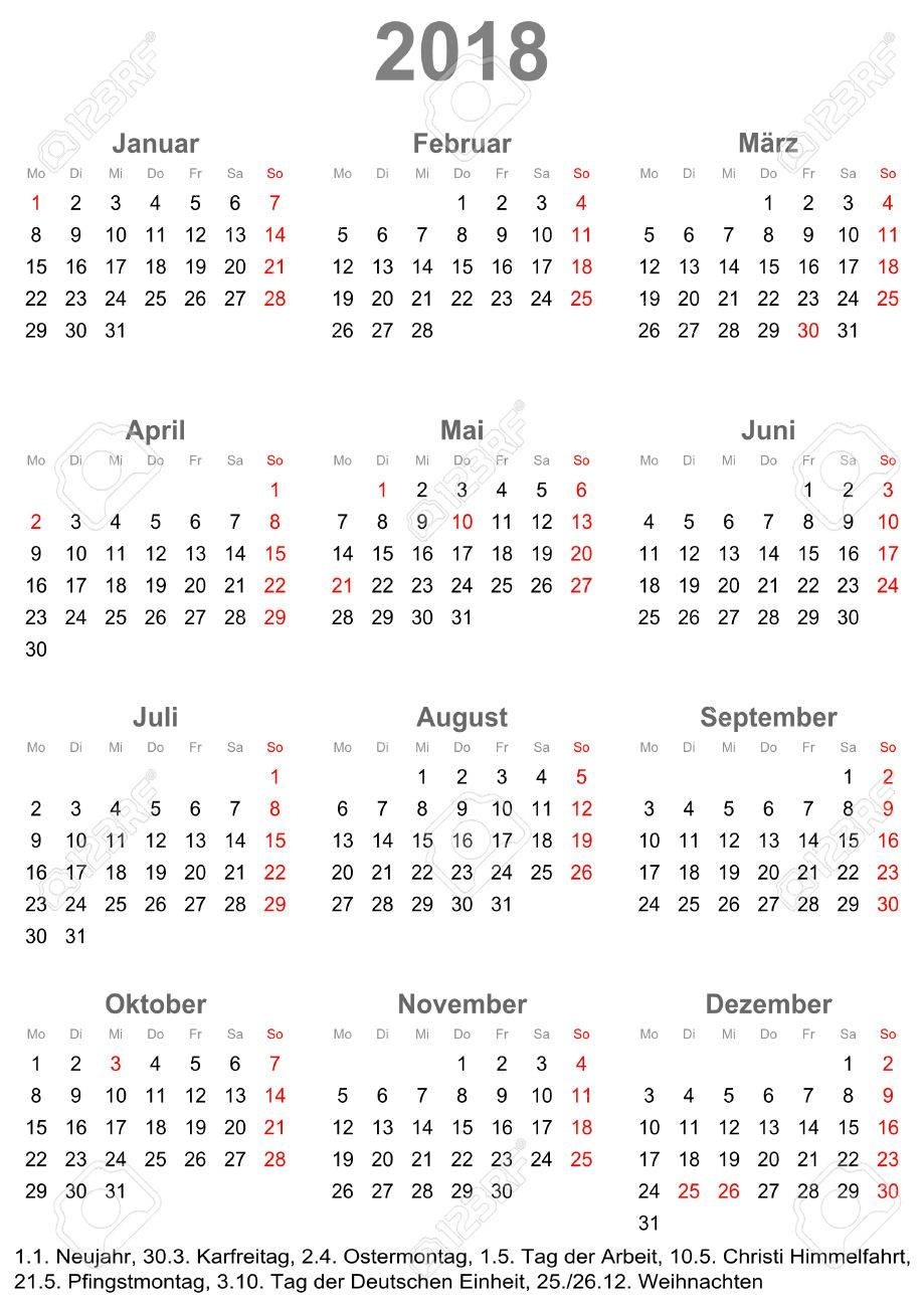 Simple Calendar 2018 - One Year At A Glance - Starts Monday With  Year At A Glance Calendar Simple Design