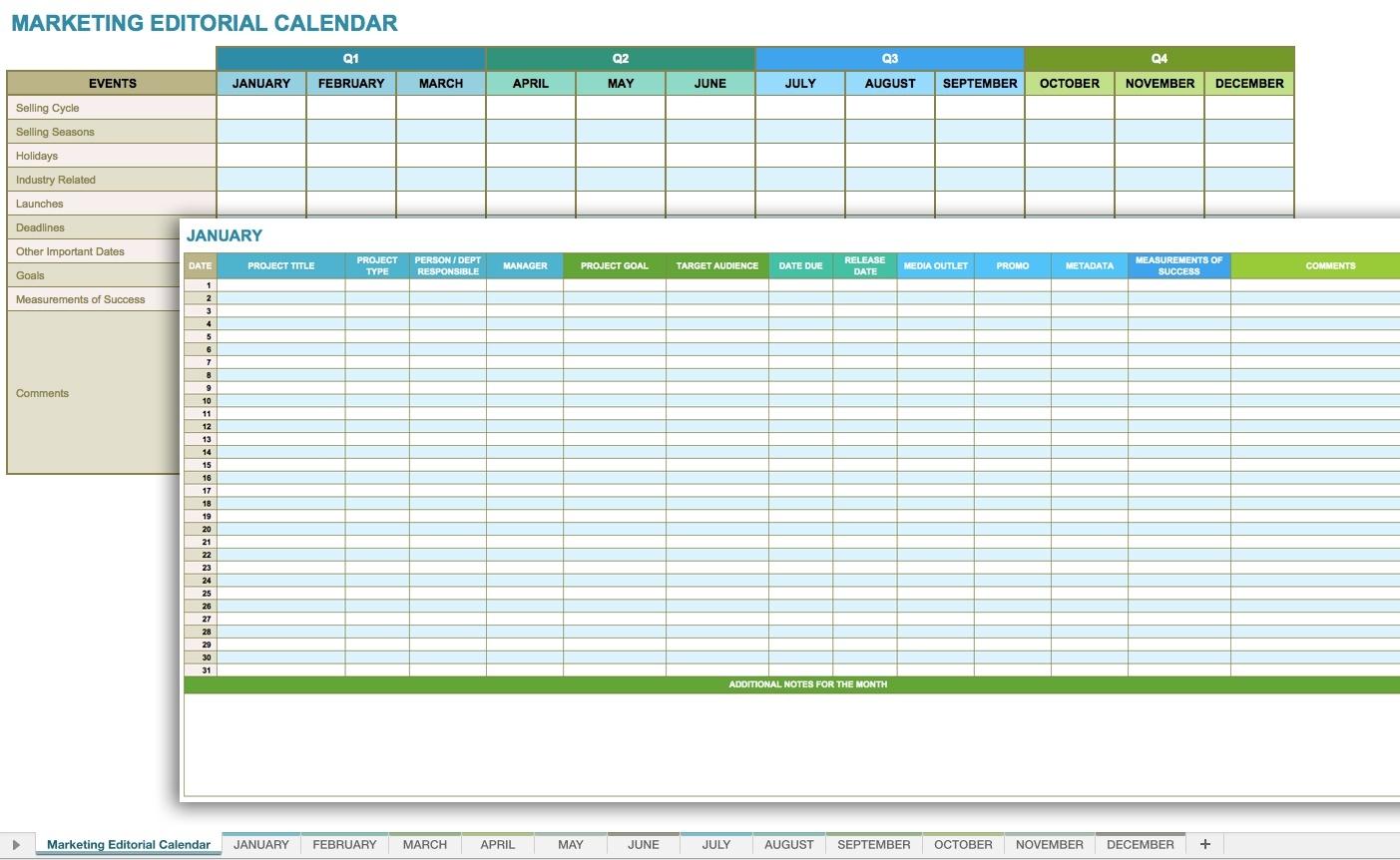 Social Media Calendar Excel | Calendar Month Printable  Social Content Calendar Template Monthly