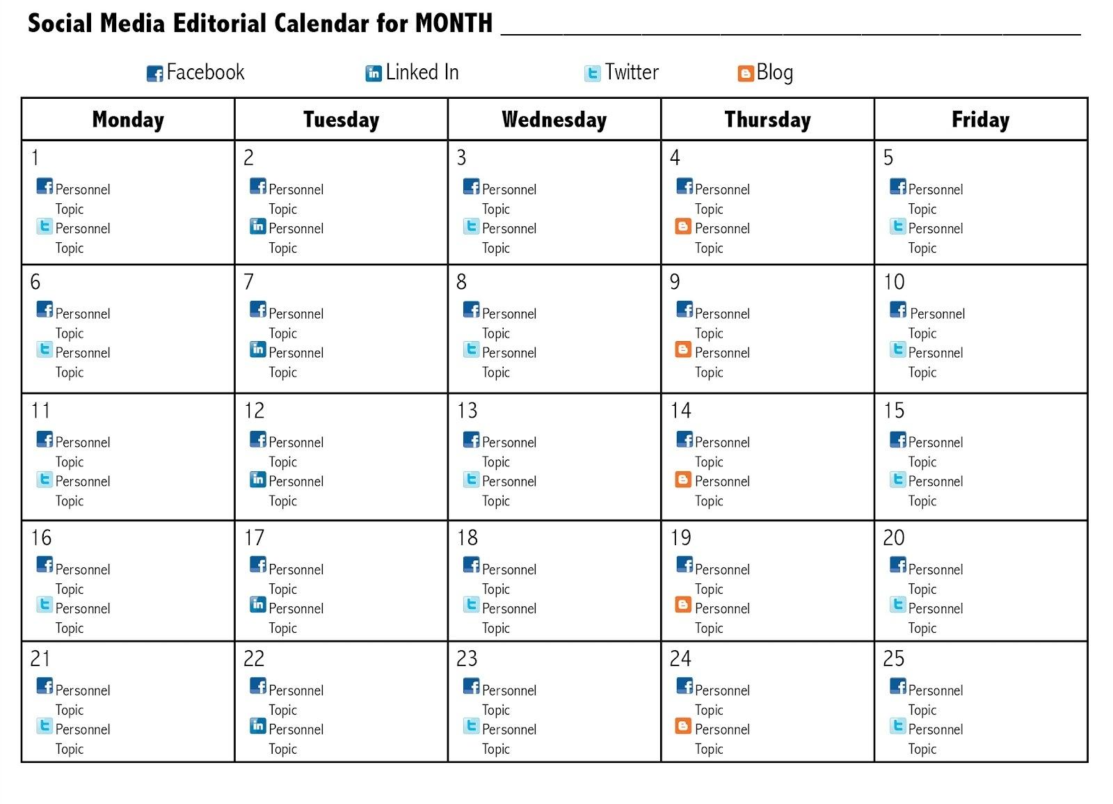 Social Media Calendar Template - Gerhard-Leixl.tk  Social Content Calendar Template Monthly