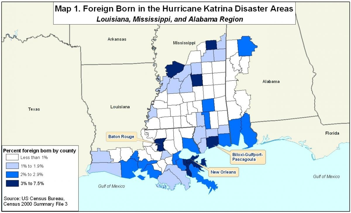 Spotlight On Foreign Born In Areas Affectedhurricanes Katrina  Map Of Area Affected By Hurricane Katrina