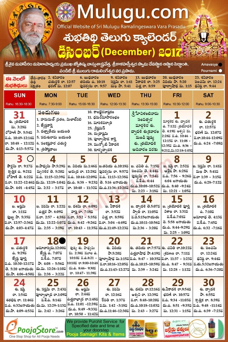 Subhathidi December Telugu Calendar 2017 | Telugu Calendar 2017  1993 Hindi Calendar By Tithi Patttra
