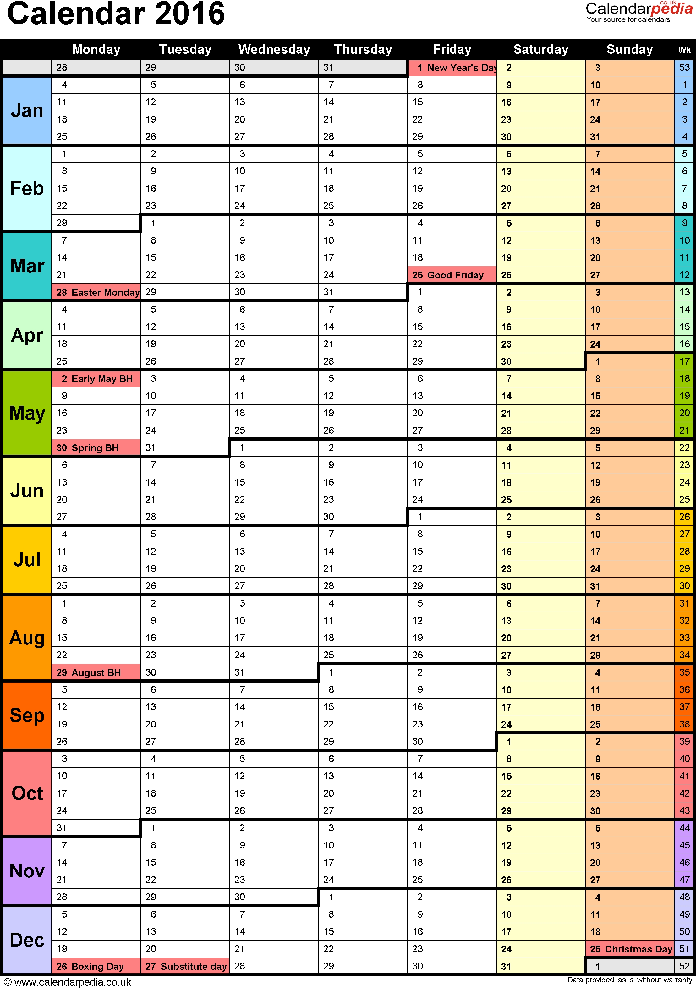 Template 15: Yearly Calendar 2016 As Pdf Template, Portrait  Annual Calendar Planner Excel Spreadsheet