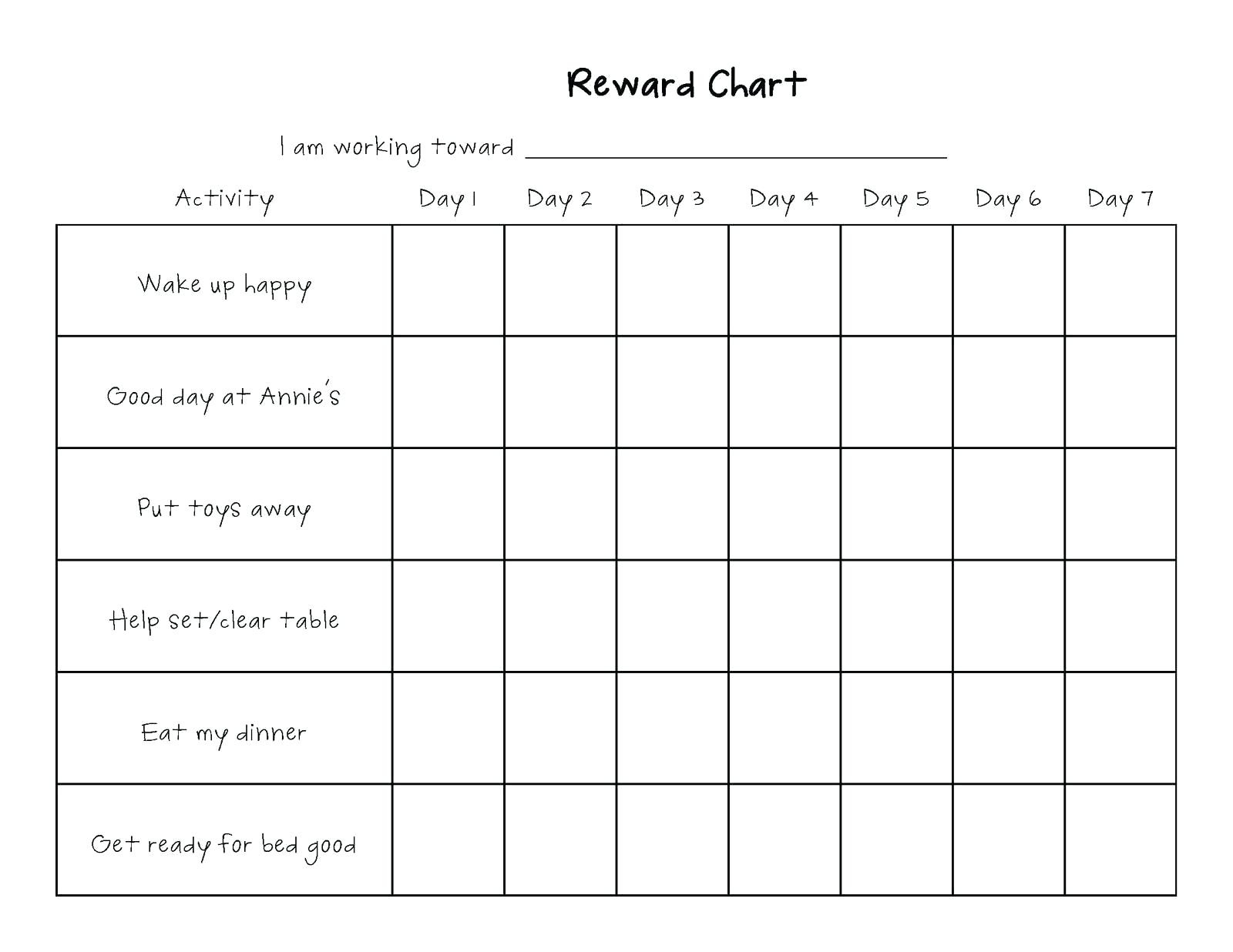 Template: Monthly Behavior Chart Template For Teachers Free  Free Printable Blank Behavior Charts