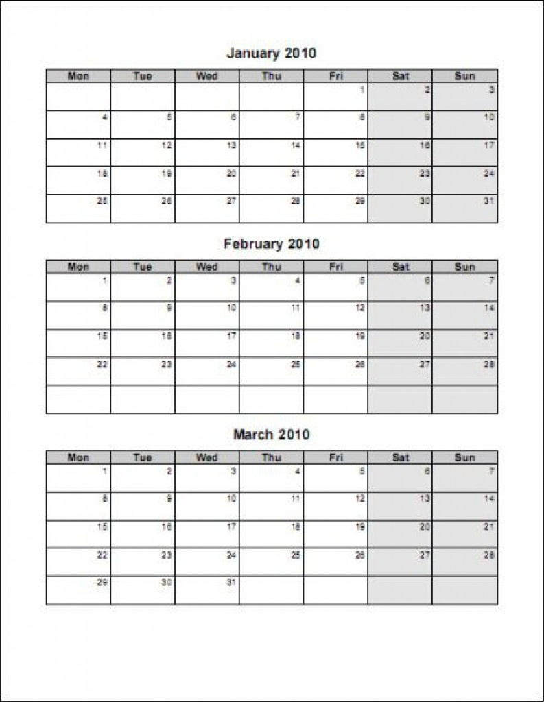 Three Month Calendar Template Great Printable Calendars Gallery  Free Printable Three Month Calendar