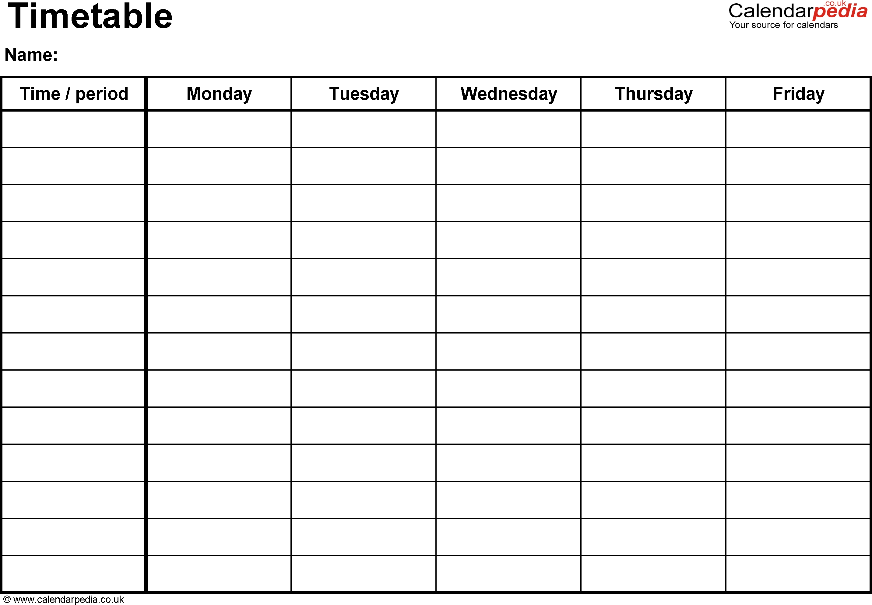 Timetable Template Download - Yeniscale.co  Monday Though Friday Timed Schedule