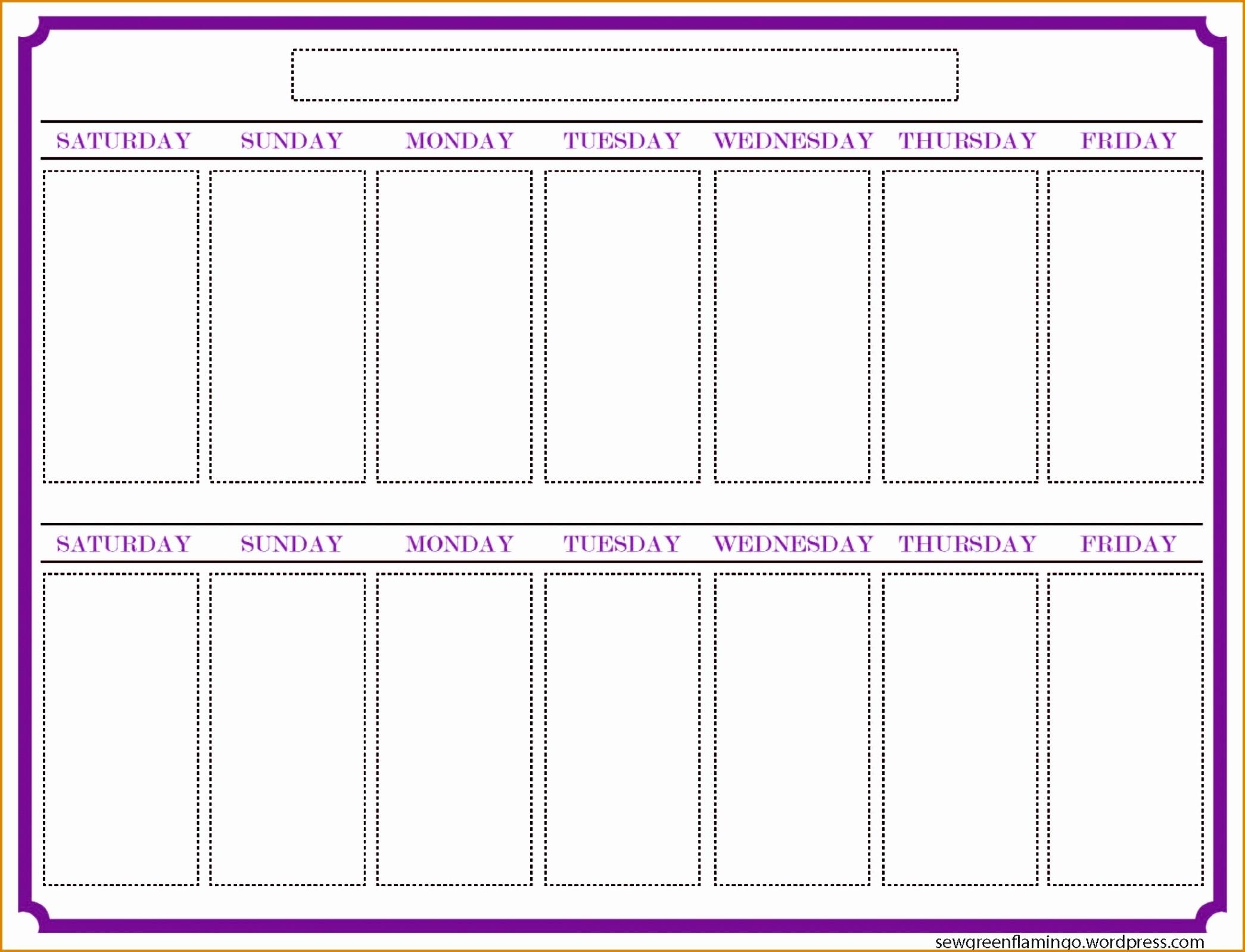 Two Week Printable Calendar Blank Template Weekly Timetable  2 Week Blank Calendar Printable
