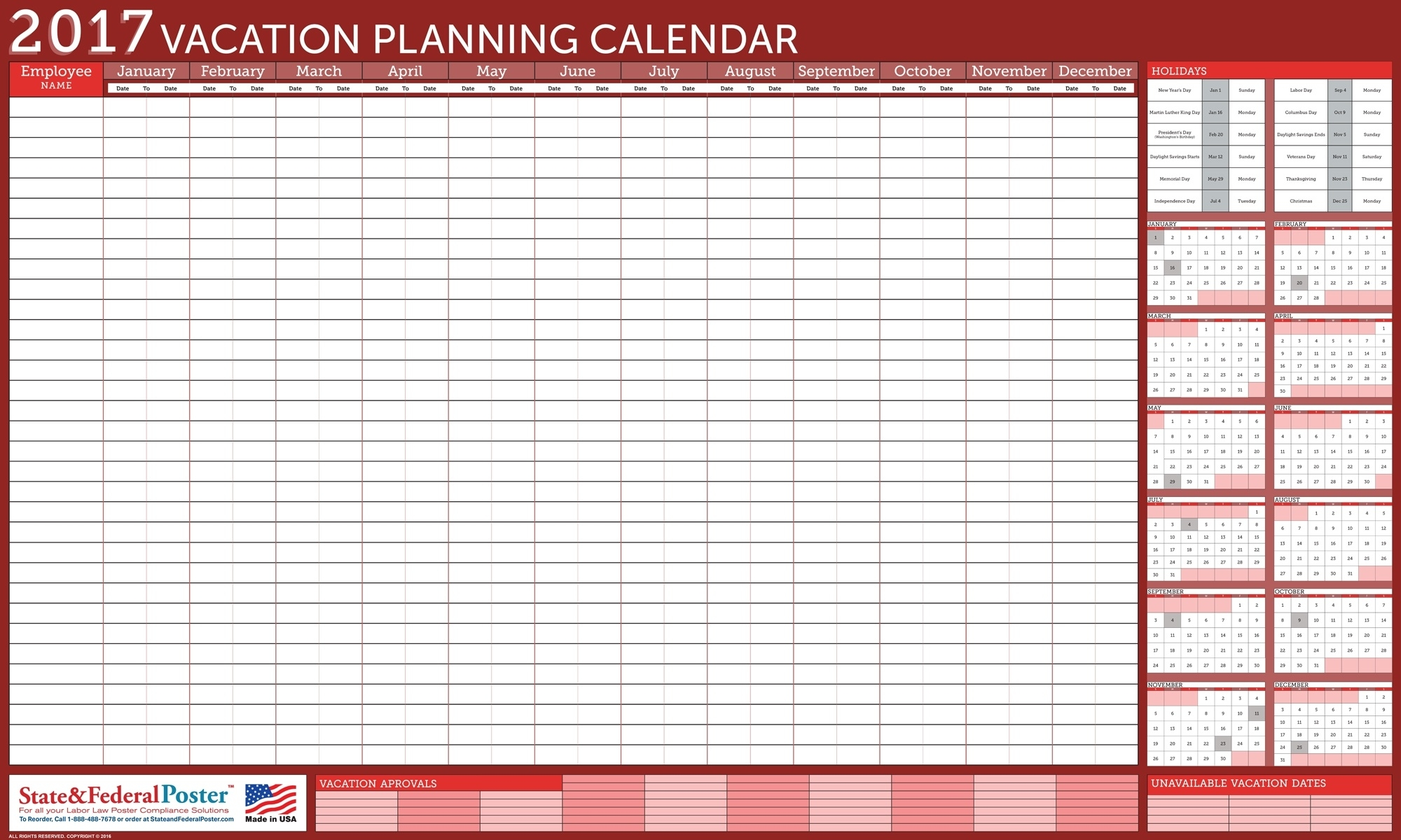 Vacation Calendar Planner - Yeniscale.co  Year At A Glance Calendar - Vacation Schedule For Staff
