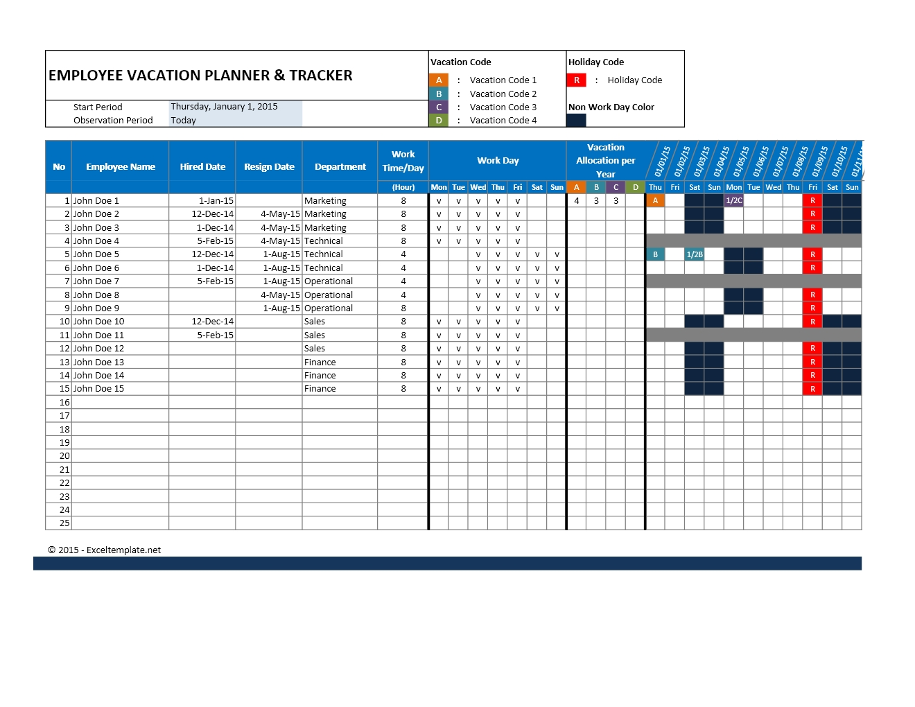 Vacation Calendar Template 2015 - Yeniscale.co  Year At A Glance Calendar - Vacation Schedule For Staff