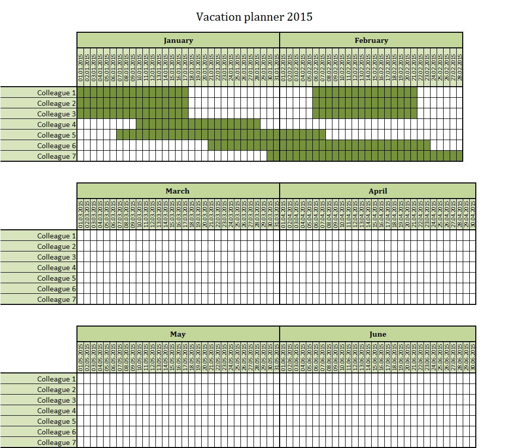 Vacation Planner 2015 Excel Template – Free To Download | Excel  Downloadable Employee Vacation Calendar 2015