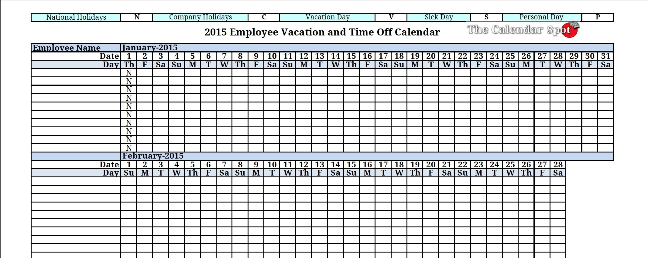 Vacation Schedule Calendar Template - Yeniscale.co  Year At A Glance Calendar - Vacation Schedule For Staff