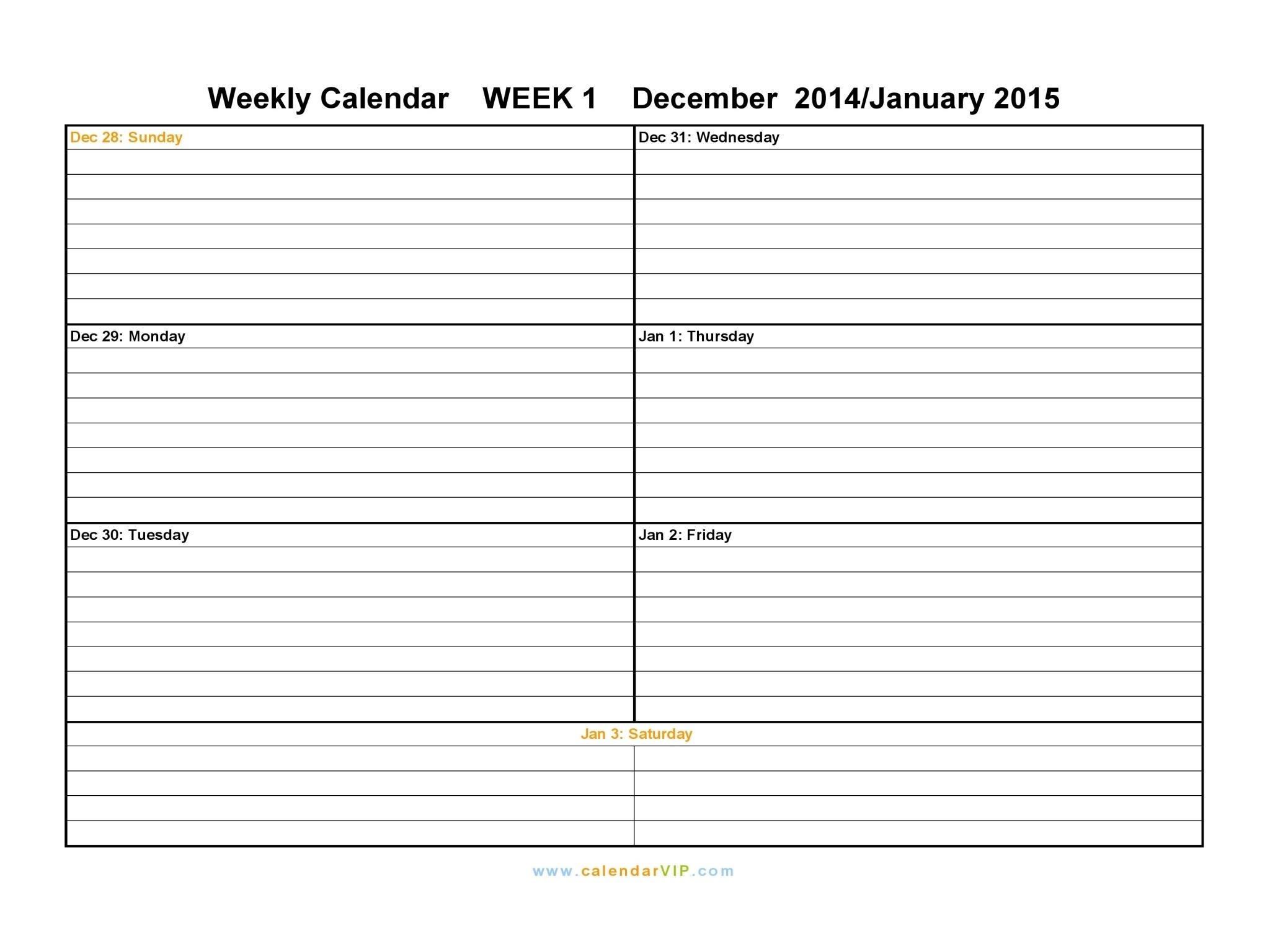 One Week Calendar Template Printable Template Calendar Design