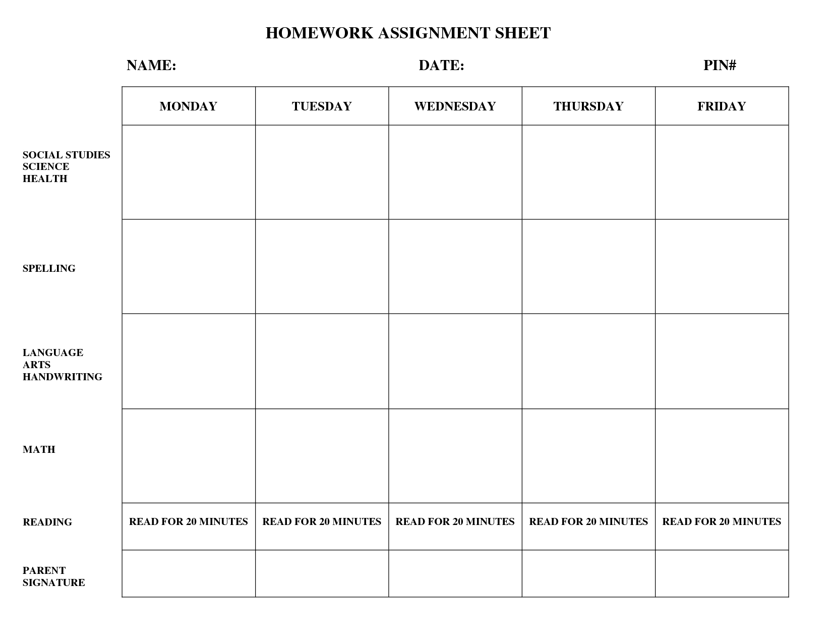 Weekly Homework Assignment Sheet Template - Yeniscale.co  1St Grade Homework Chart Templates