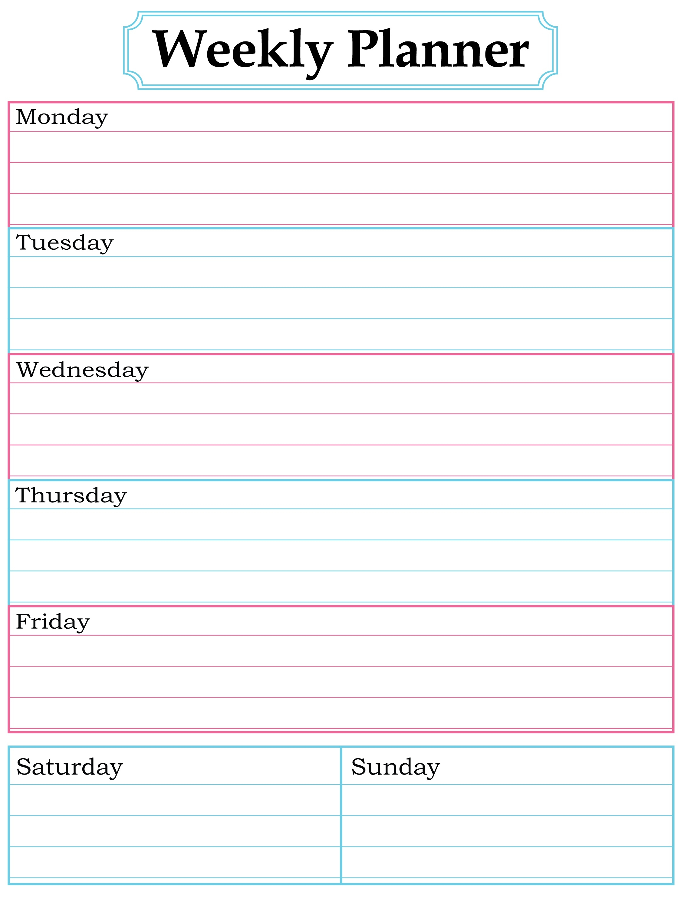 Weekly Monthly Planner Printable - Yeniscale.co  Free Printable Weekly Schedule Planner