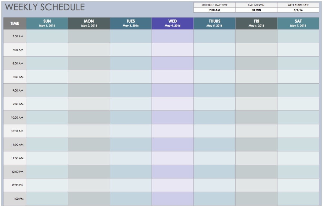 Weekly Schedule Calendar Free Printable Weekly Schedule Template  30 Day Calendar Template Excel