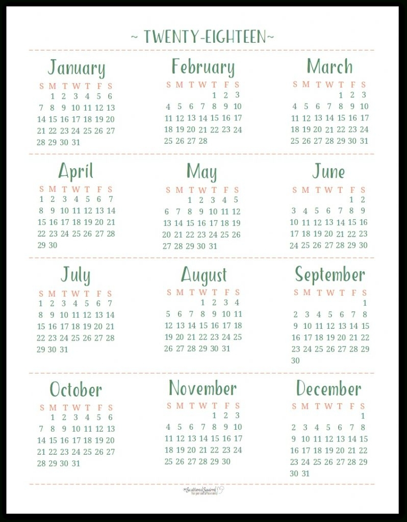 Year At A Glance Calendar Free Printable 2018 And 2018 | Flash Design  Free Printable Calendar Year At A Glance Calendar