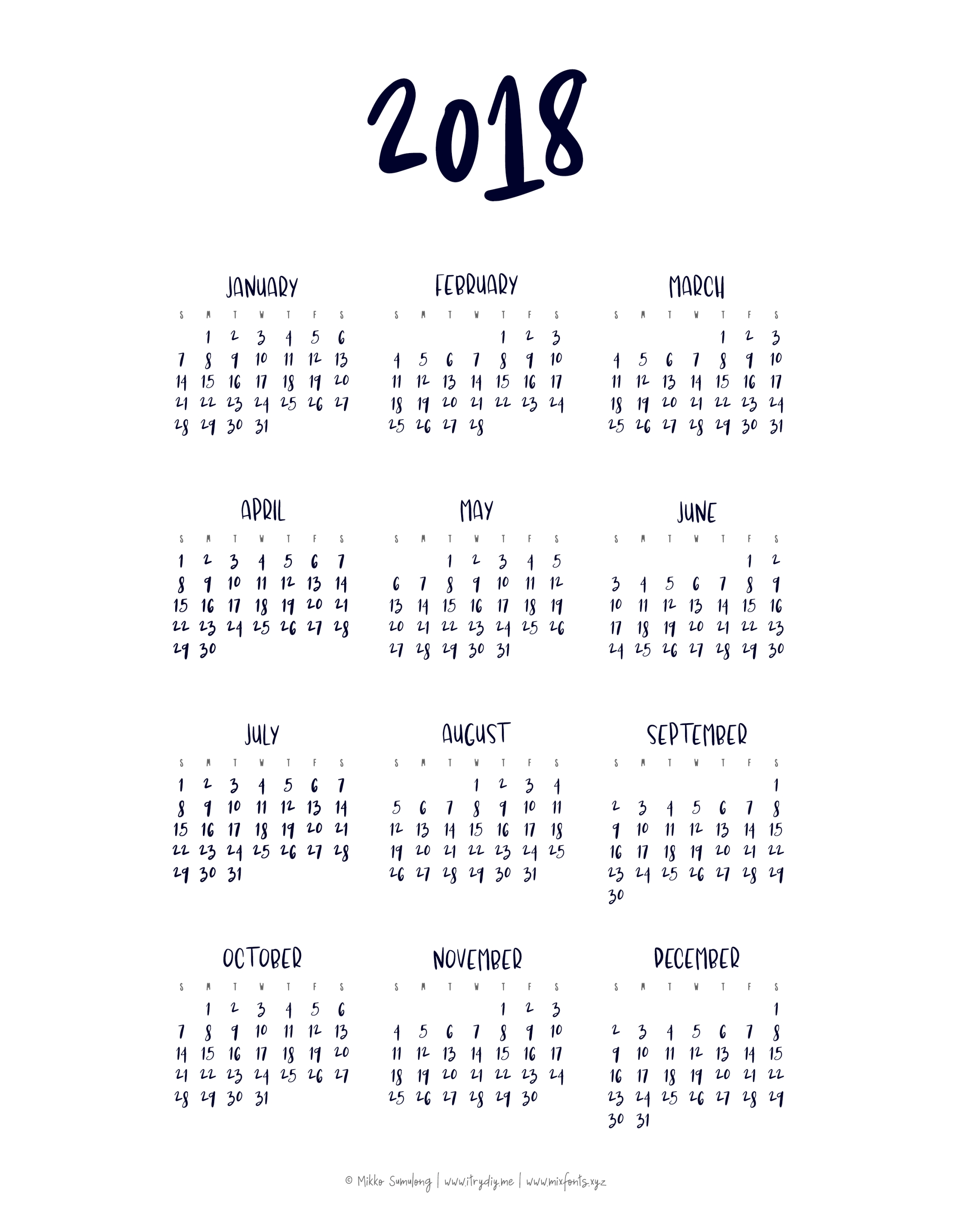 Year At A Glance Calendar | Templates & Printables | Pinterest  Year At A Glance Calendar Simple Design