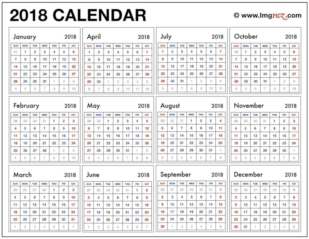 Year Long Calendar Year At A Glance Printable Calendar 2018  Year Calendar At A Glance