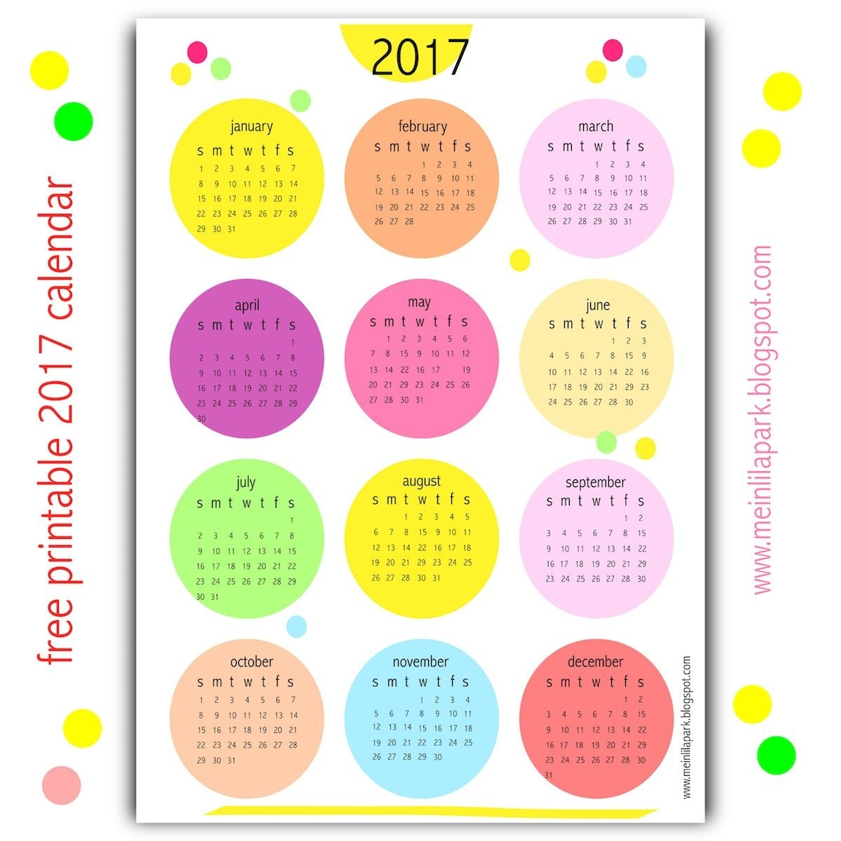 Yes, I Created Another Free Printable 2017 Calendar For You  Free Printable Calendar Year At A Glance Calendar