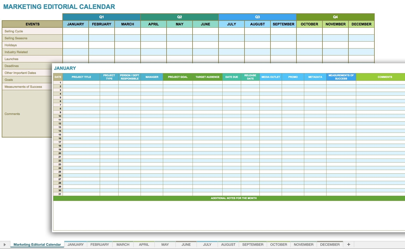 12 Free Social Media Templates - Smartsheet  Free Printable Month By Month Calendars