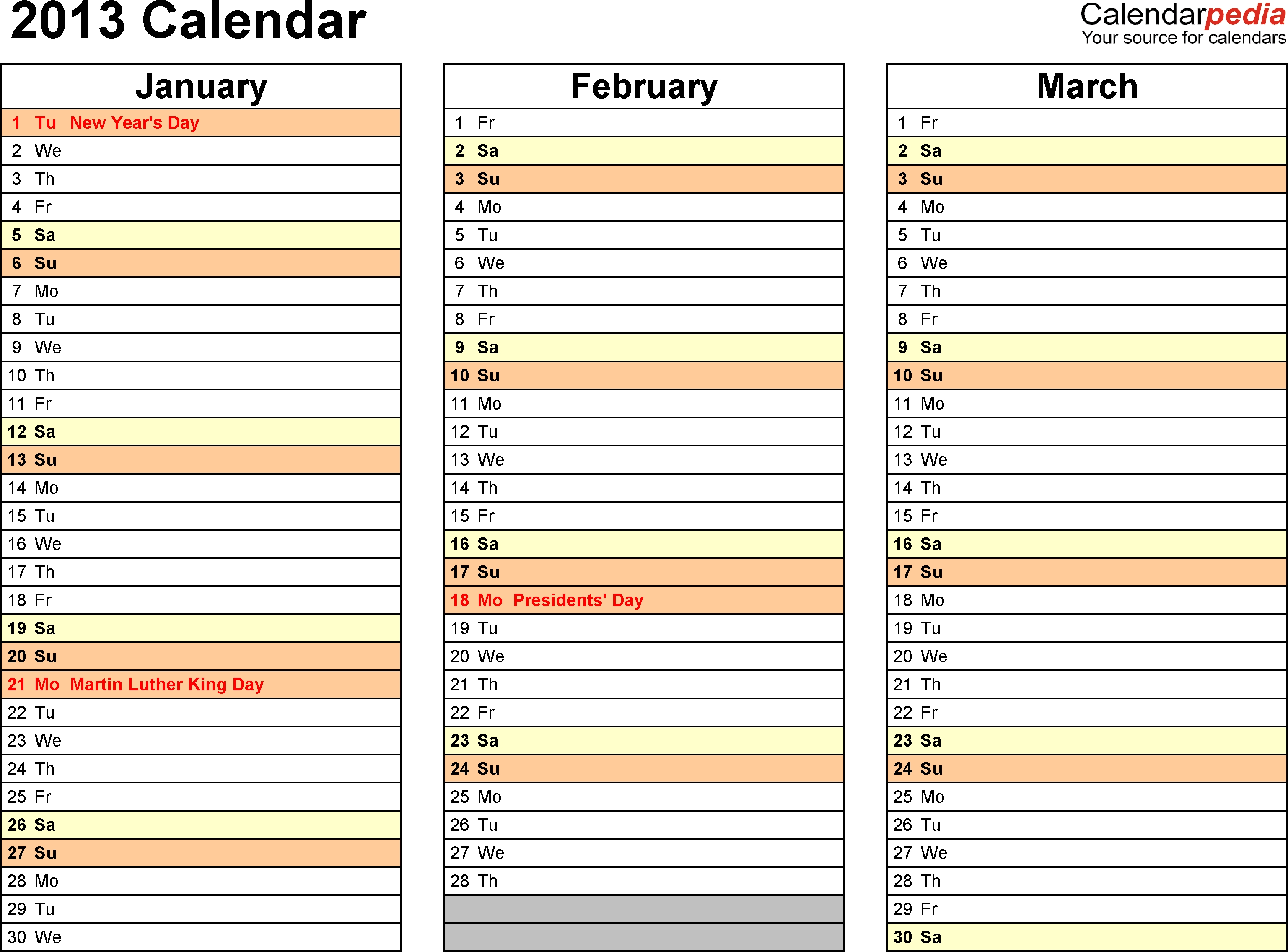 2013 Calendar Word - 11 Free Printable Word Templates (.docx)  Download A 3 Month Calendar