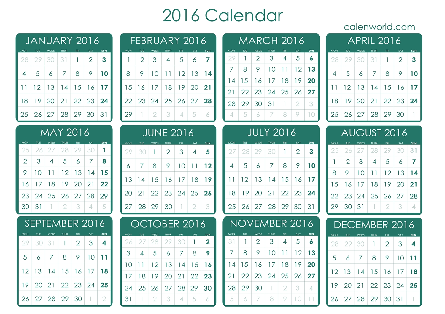 2016 Calendar | 2016 Free Printable Calendar | Free Calendar  Calendar With All The Years