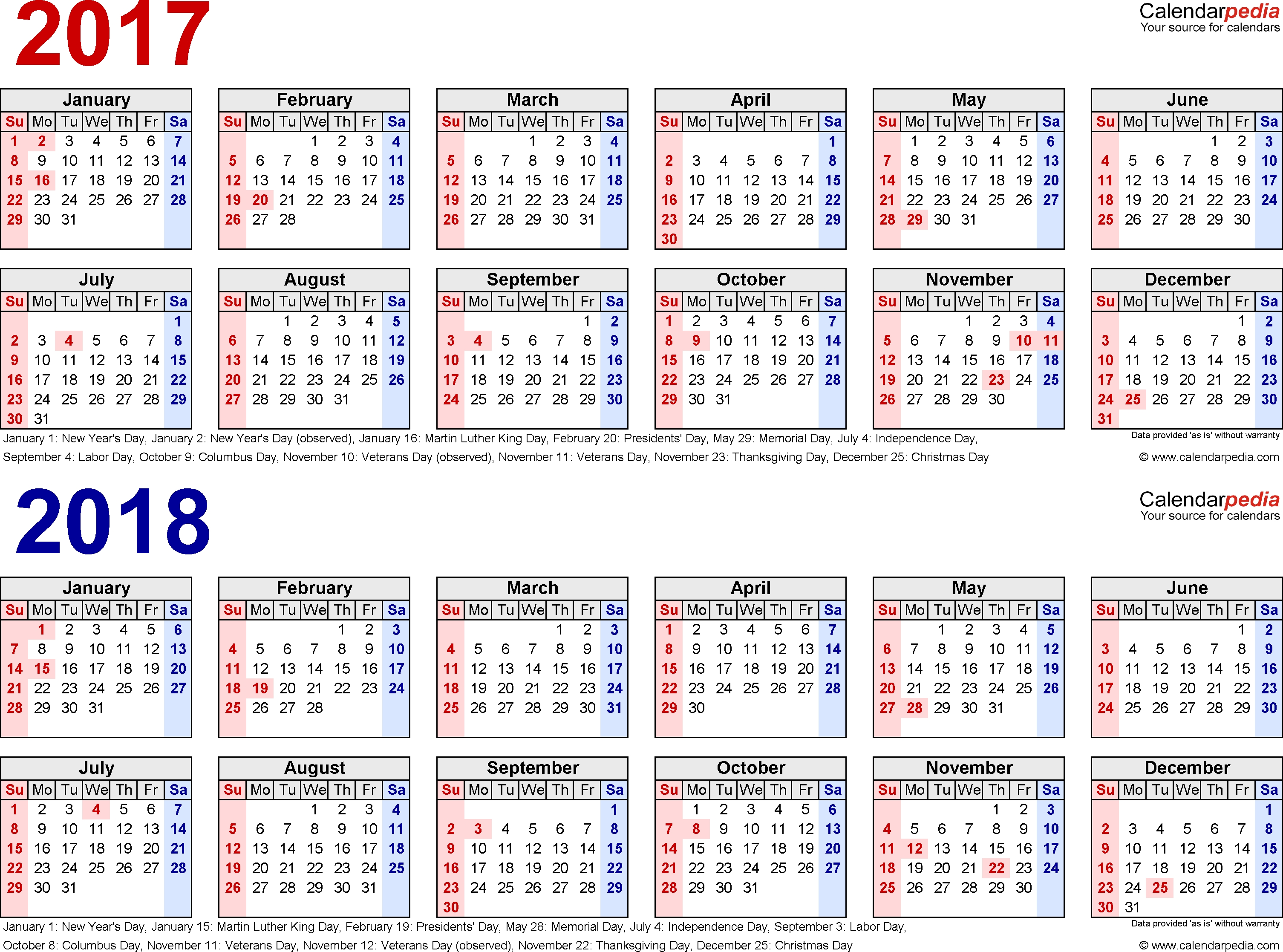 2017-2018 Calendar - Free Printable Two-Year Pdf Calendars  Calendar With All The Years