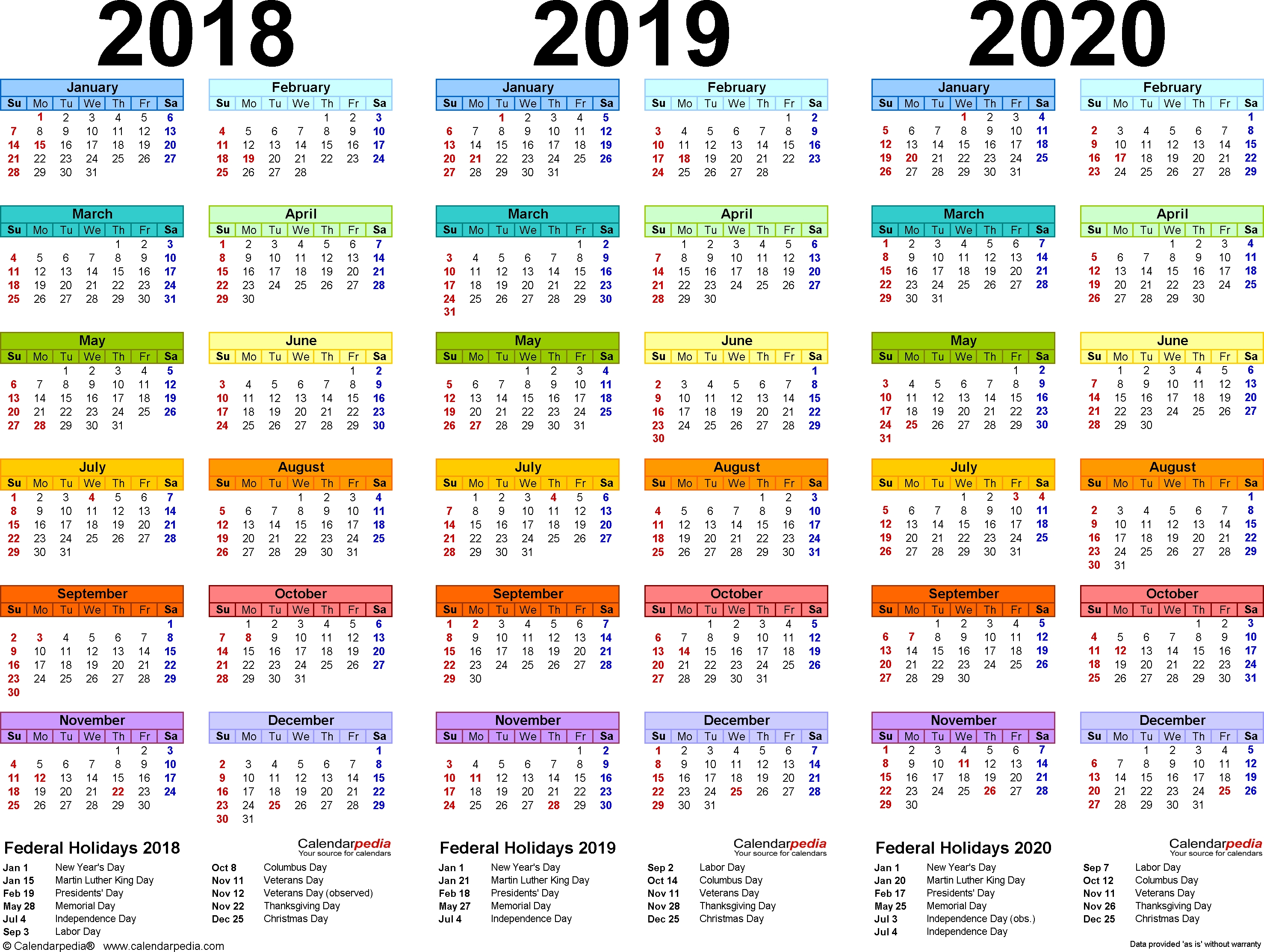 2018/2019/2020 Calendar - 4 Three-Year Printable Pdf Calendars  2023 Calendar Printable One Page E Printable
