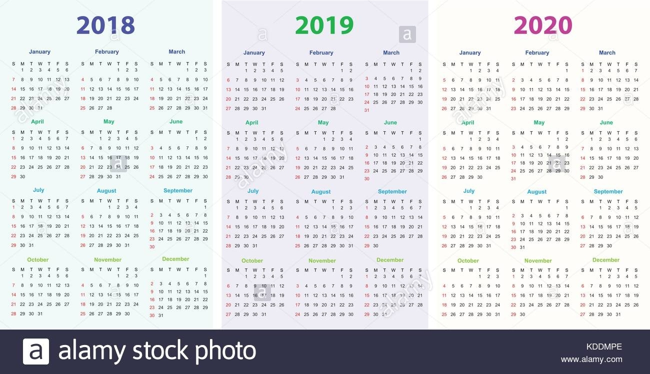 2018 2019 Stock Vector Images - Alamy  2023 Calendar Printable One Page E Printable