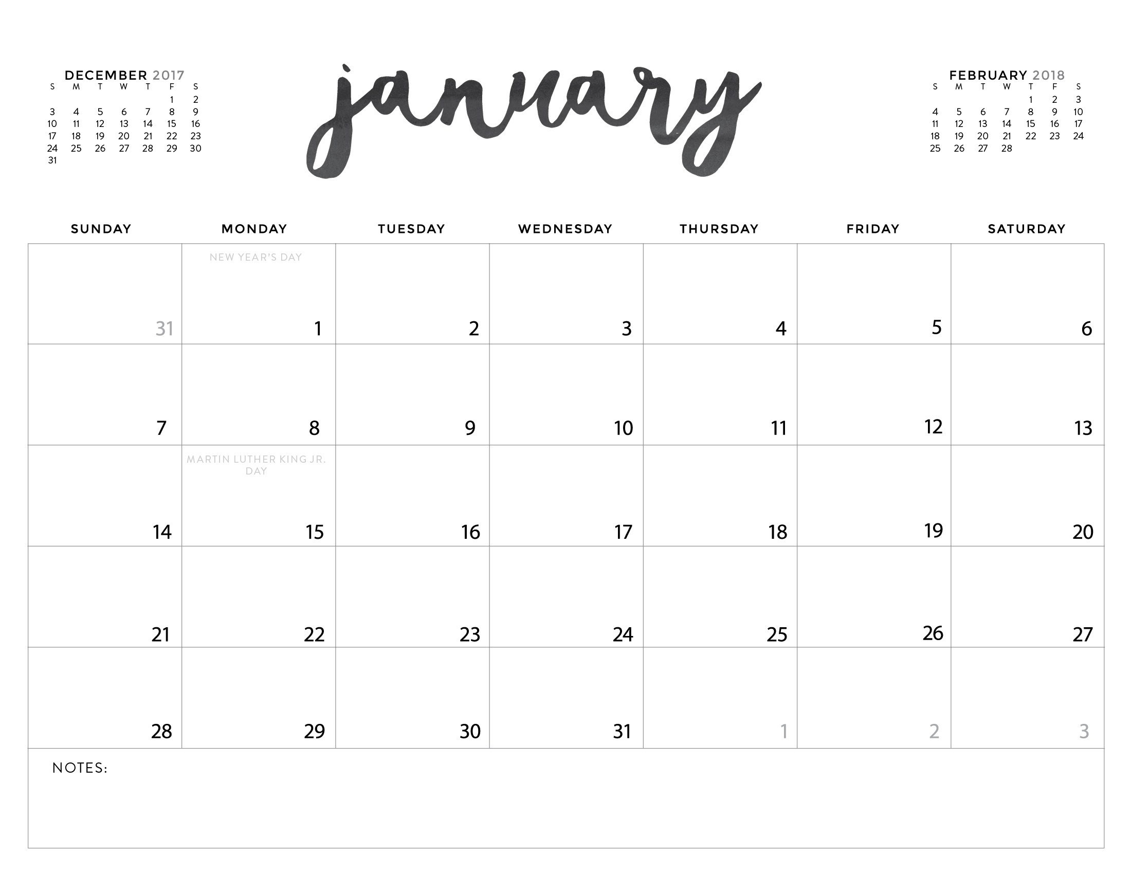 2018 Free Calendar Printables | Jill Davis Design  Free Calendars To Print Without Downloading