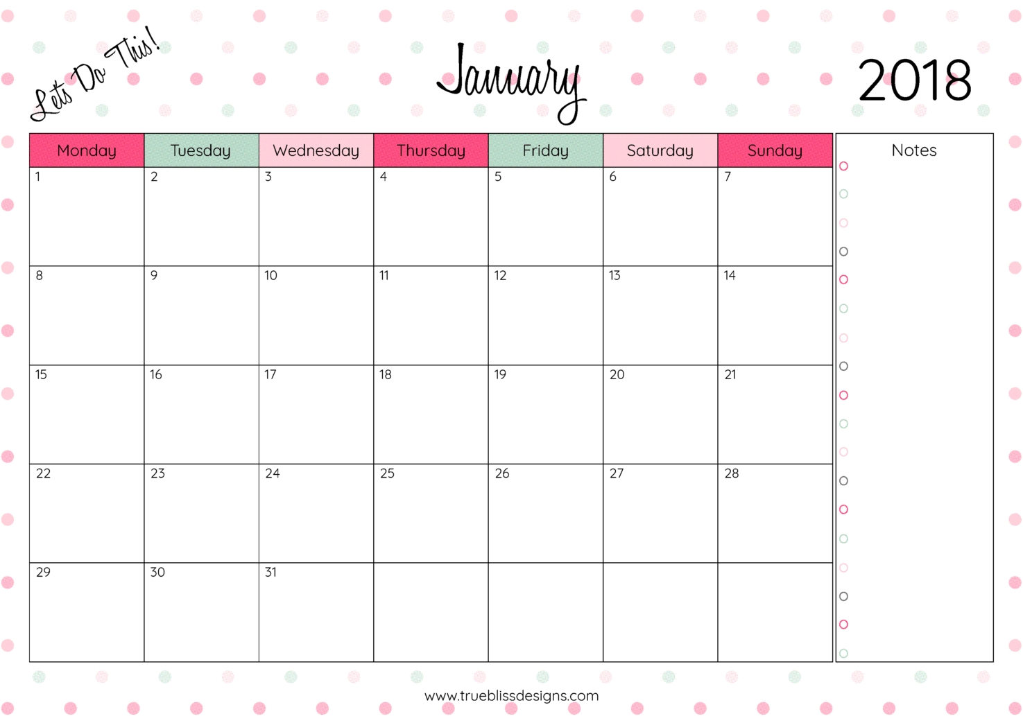 2018 Monthly Printable Calendar Free - Gecce.tackletarts.co  Monthly Calendar Printable Template Notes Column