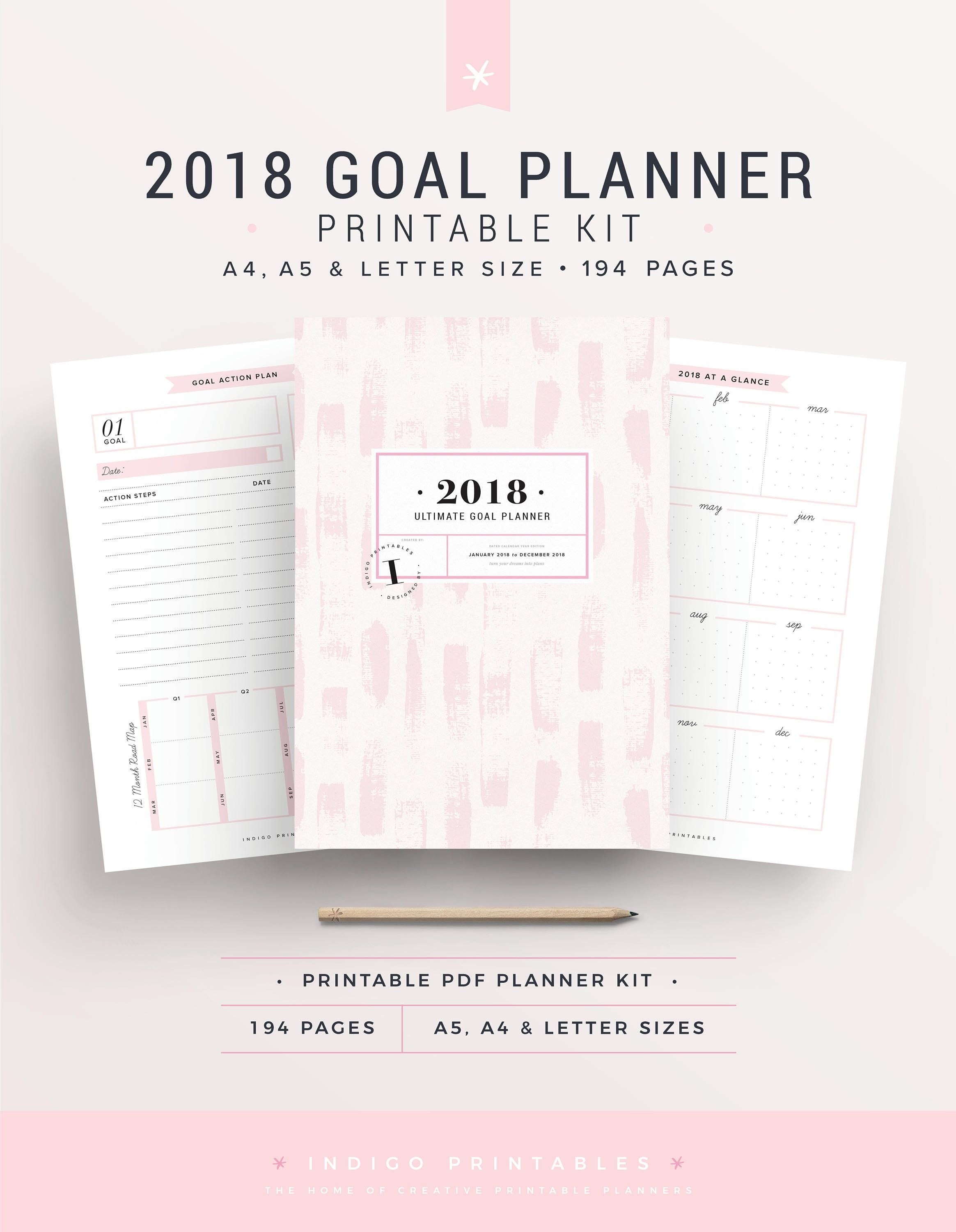 2018 Planner, 194 Printable Pages | Created#indigoprintables The  Calendar Template With 194 Days