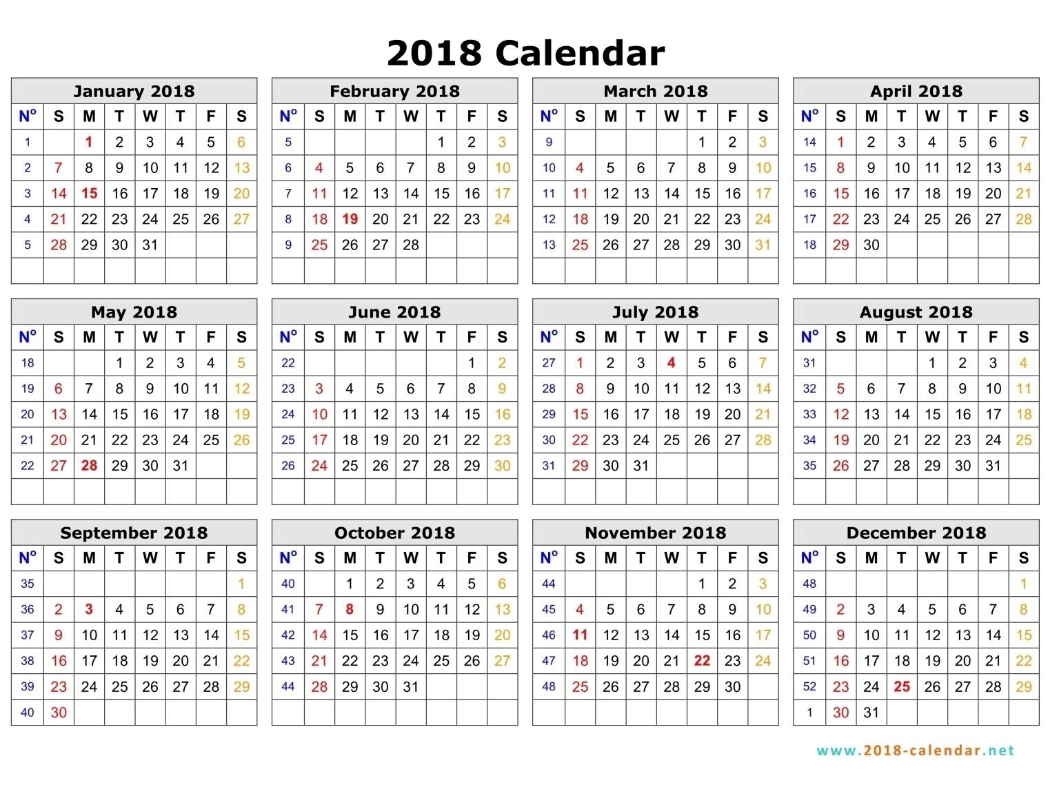 2018 Weekly Calendar Week Numbers Calendar Printable Free | Jill  Calendar By Week With Printable