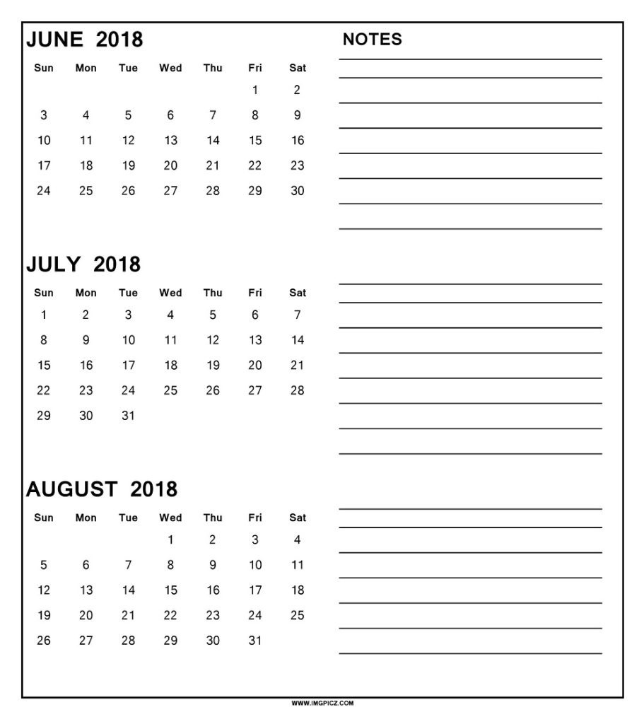 3 Month Calendar 2018 | Printable Calendar Templates 2018-2019  Download A 3 Month Calendar