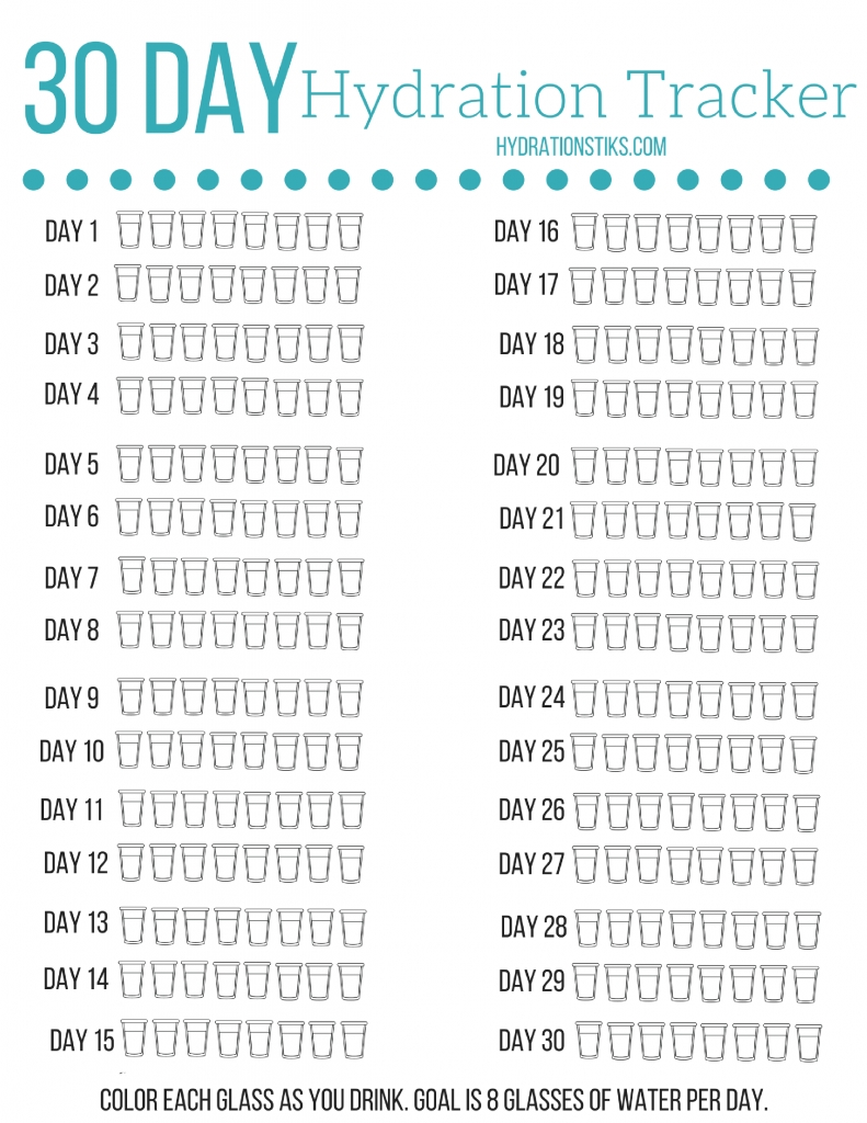 30 Day Hydration Tracker- Track How Much Water You Drink Every Day  30 Day Water Challenge Printable