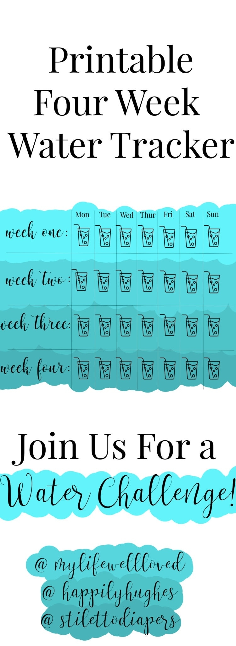 30 Day Water Challenge - My Life Well Loved  30 Day Water Challenge Printable