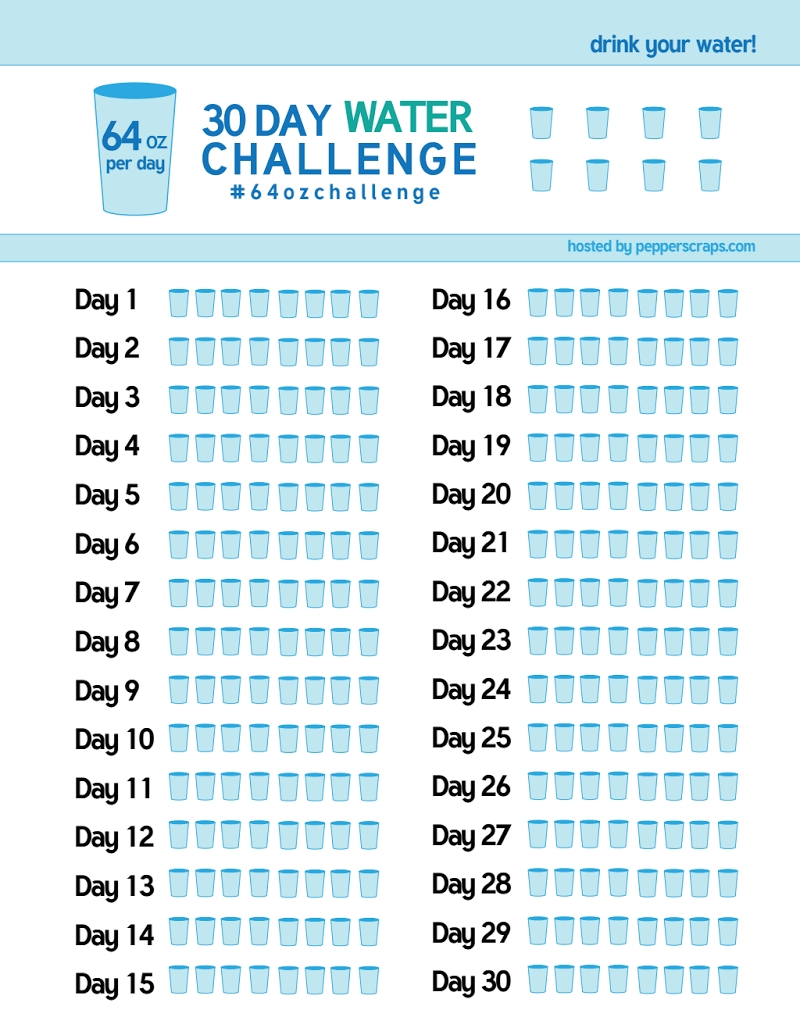 30 Day Water Challenge Tracker.pdf | Planners And Bullet Journals  30 Day Water Challenge Printable